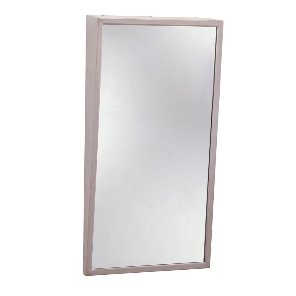 Bobrick B-293 1830 Fixed-Position Tilt Mirror w/ Beveled Edges, Stainless