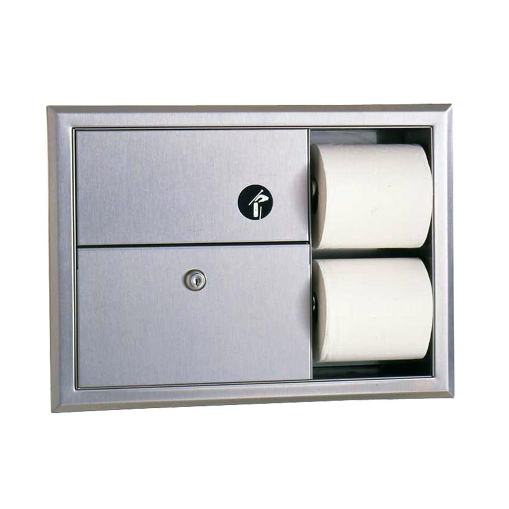 Bobrick B3094 Classic Series Recessed Sanitary Napkin Disposal & Toilet Tissue Dispenser