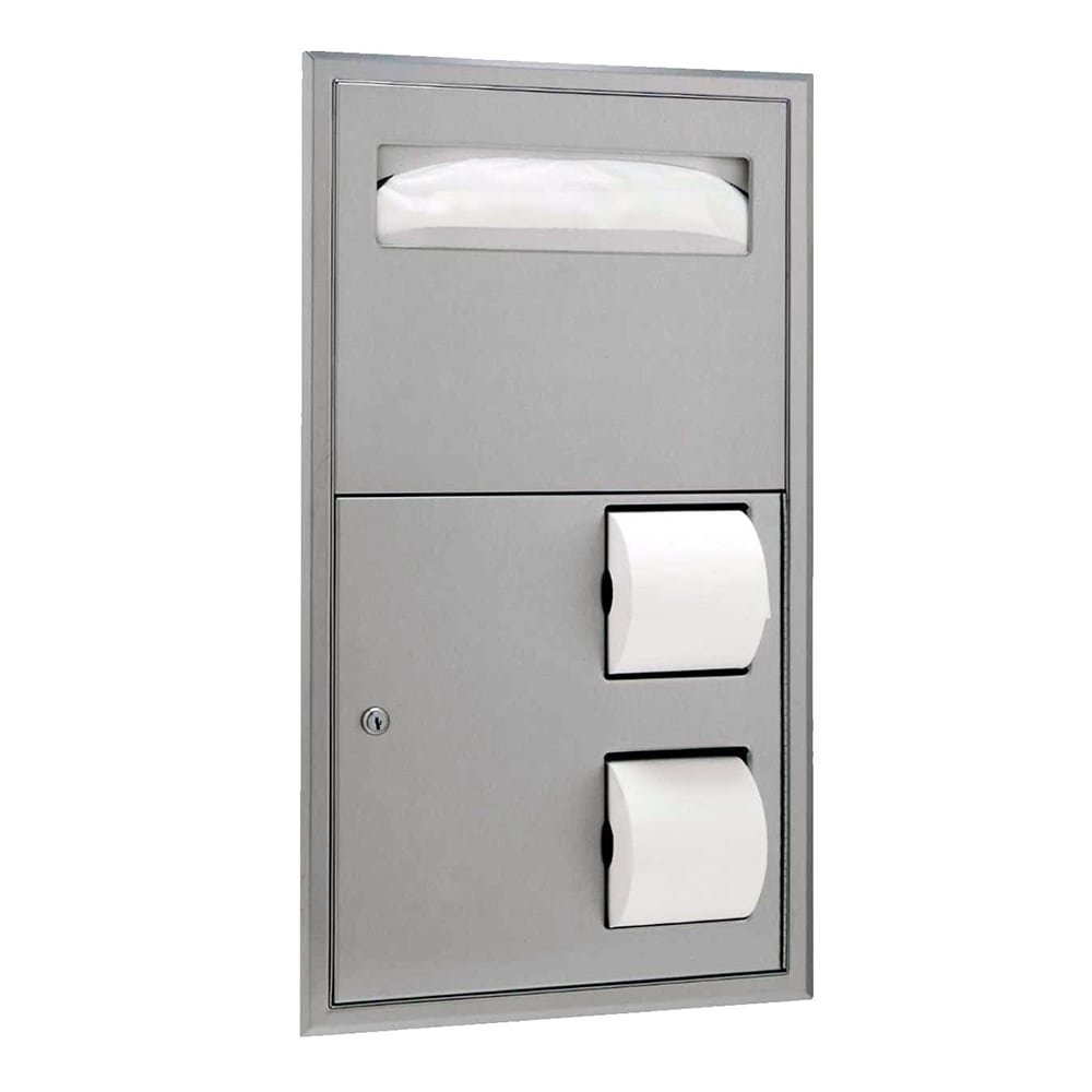 Bobrick B3474 Classic Series Recess Mounted Seat Cover & Toilet Tissue Dispenser