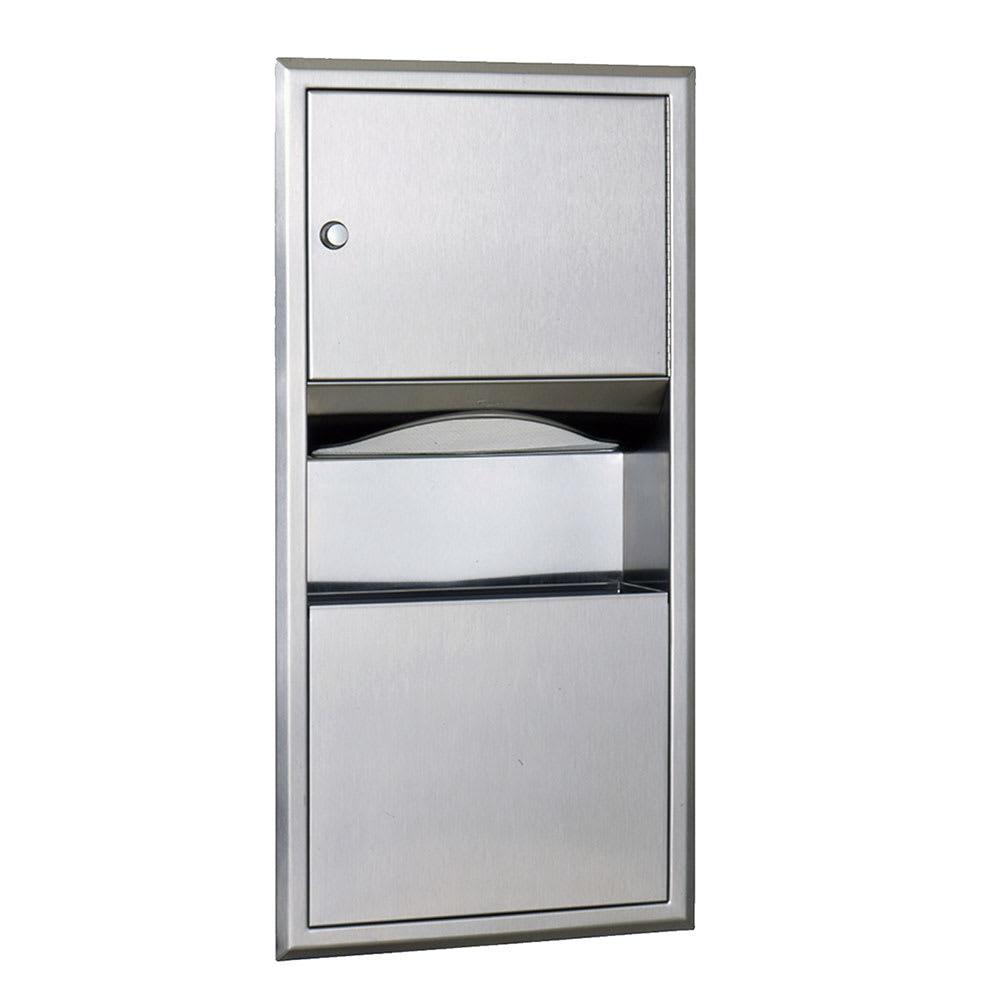 bobrick b369 2 gallon recessed bathroom trash can w paper towel dispenser - Paper Towel Dispenser