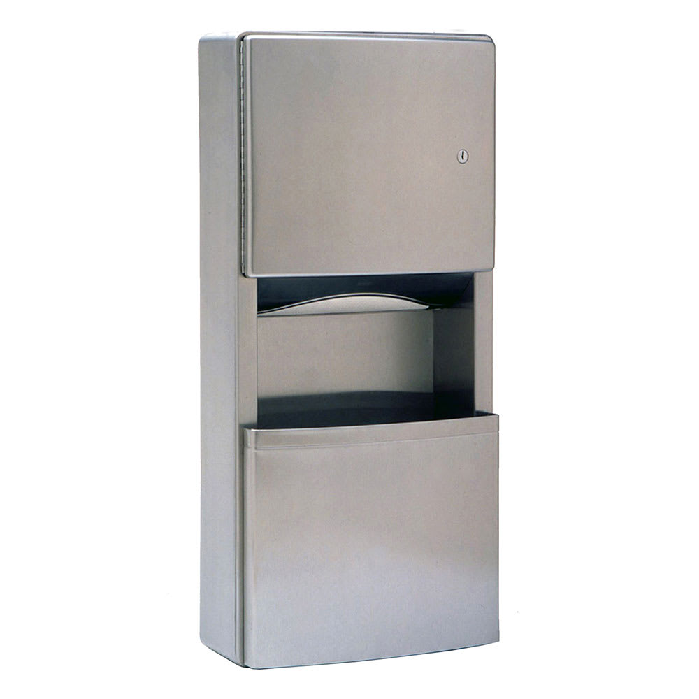 Bobrick B3699 2-Gallon Mounted Bathroom Trash Can w/ Paper Towel Dispenser