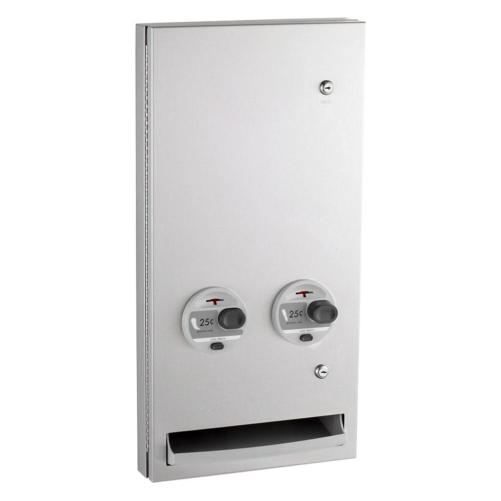 "Bobrick B-37063425 TrimLineSeries Sanitary Napkin/Tampon Dispenser, 30 Tampon Capacity, Semi-Recessed, 14x28"""