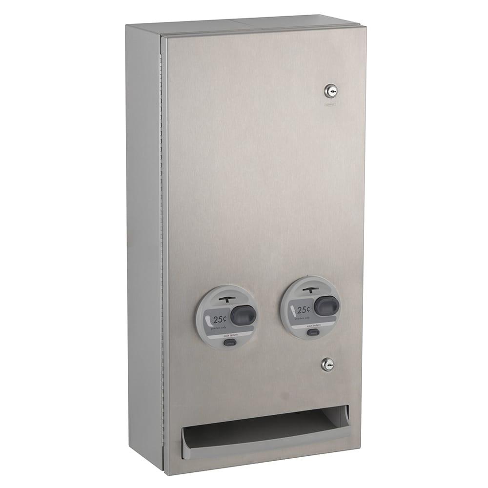"Bobrick B-37063925 TrimeLineSeries Sanitary Napkin Tampon Dispenser, 30 Tampon Capacity, Surface Mounted, 14x28"""