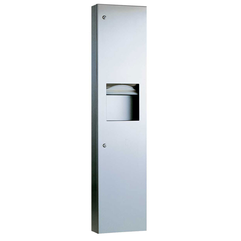 Bobrick B-38032 TrimLineSeries Semi-Recessed Paper Towel Dispenser / Waste Receptacle, Stainless