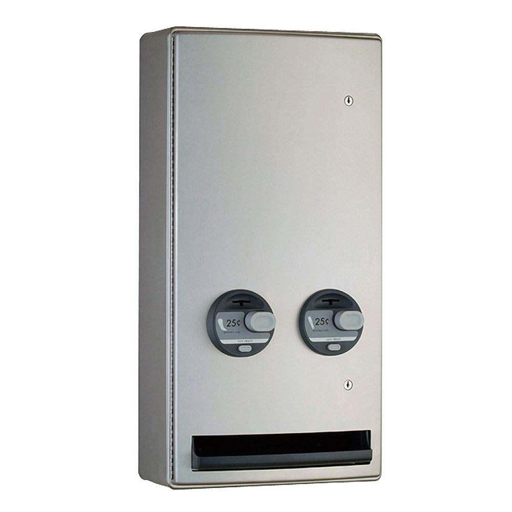 Bobrick B-47069 50 ConturaSeries Surface Push Button Napkin Tampon Vendor, Double, 50-Cent
