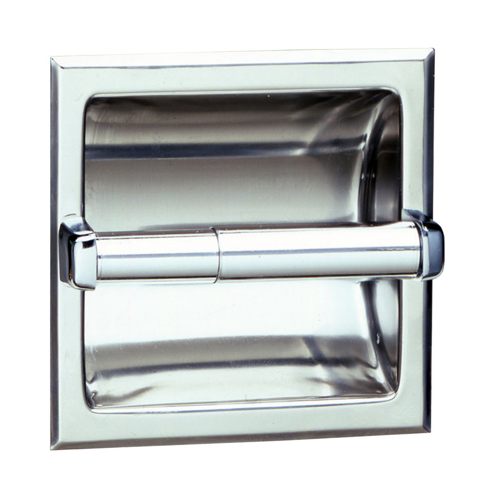 Bobrick B667 Recessed Toilet Tissue Dispenser, Holds 1 Roll, Polished Stainless