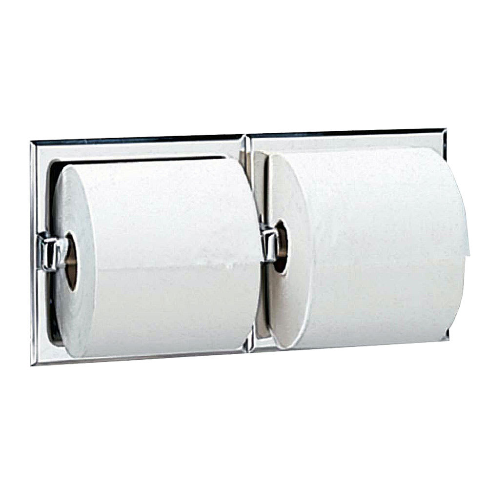 Bobrick B-697 Recessed Toilet Tissue Dispenser, 2 Rolls, Polished Stainless