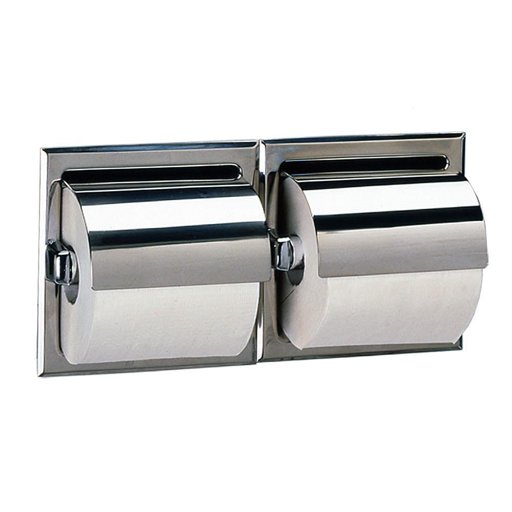 Bobrick B-6997 Recessed Toilet Tissue Dispenser w/ Hoods, Holds 2 Rolls, Satin