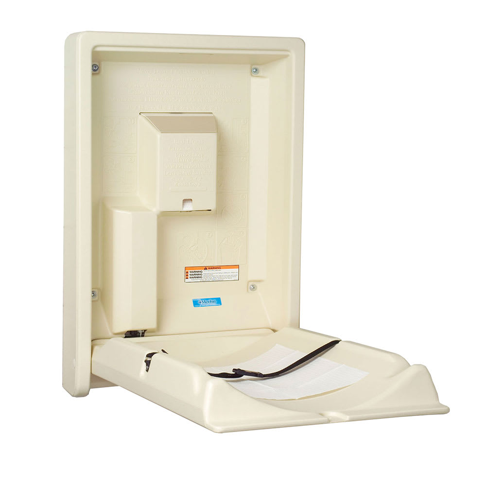 Bobrick KB101-00 Vertical Wall-Mounted Changing Station - Polyethylene, Cream