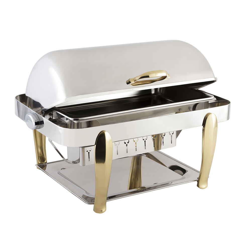 Bon Chef 10040 Full Size Chafer w/ Roll-top Lid & Chafing Fuel Heat