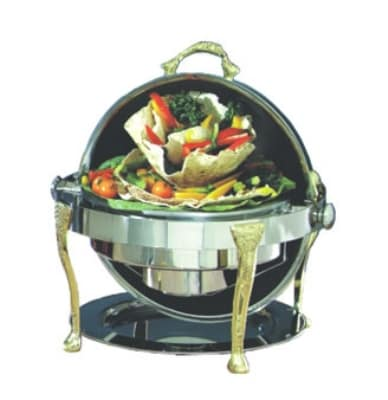 Bon Chef 17000G 2-Gallon Round Roll Down Chafer, Stainless w/ Gold Plate