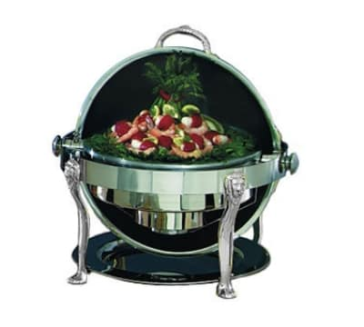 Bon Chef 18000CH 2-Gallon Round Roll Down Stainless Chafer w/ Chrome Accent