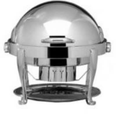 Bon Chef 19000S 2-Gallon Round Roll Down Chafer, Stainless w/ Silver, Roman