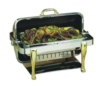 Bon Chef 19040 Full Size Chafer w/ Roll-top Lid & Chafing Fuel Heat