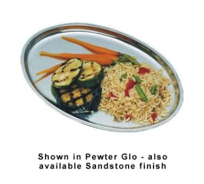 "Bon Chef 2003P Oval Serving Platter, 7.75 x 11"", Aluminum/Pewter-Glo"