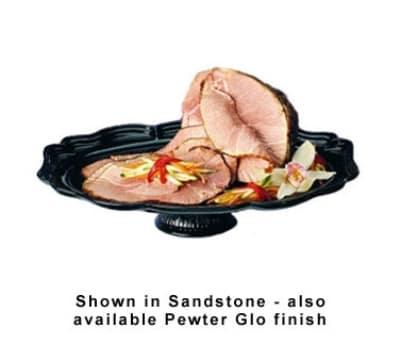 """Bon Chef 20281S WH Oval Pedestal Tray, 14.75 x 20"""", Aluminum/White"""
