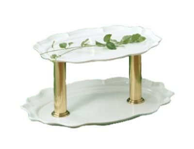 """Bon Chef 2030DTS WH 2-Tier Oval Display Stand, 24"""", Aluminum/White"""