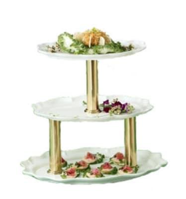 "Bon Chef 2030TTS BLK 3-Tier Display Stand, 24"", Aluminum/Black"