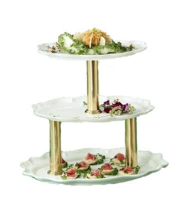 """Bon Chef 2030TTS WH 3-Tier Display Stand, 24"""", Aluminum/White"""