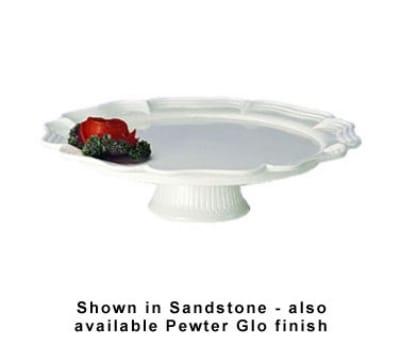 """Bon Chef 20361S WH 16"""" Round Pedestal Tray, Aluminum/White"""