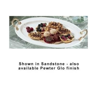 "Bon Chef 2044BHS WH 17"" Oval Brass Handle Platter Aluminum/White"