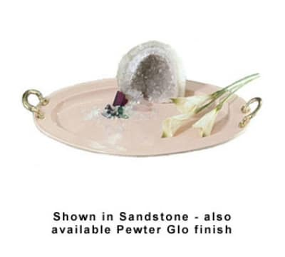 "Bon Chef 2045HRP 20.25"" Oval Round Handle Serving Tray w/ Pewter-Glo"
