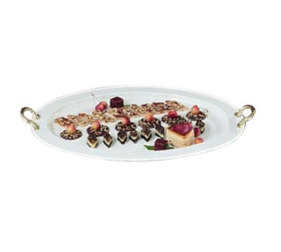 """Bon Chef 2047BH&LS WH 24.75"""" Oval Serving Tray, Brass Handle Aluminum/White"""