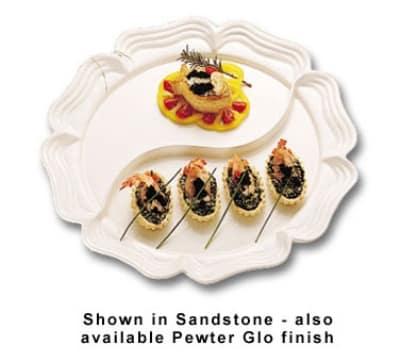 "Bon Chef 2061DS WH 18"" Round Divided Platter, Aluminum/White"