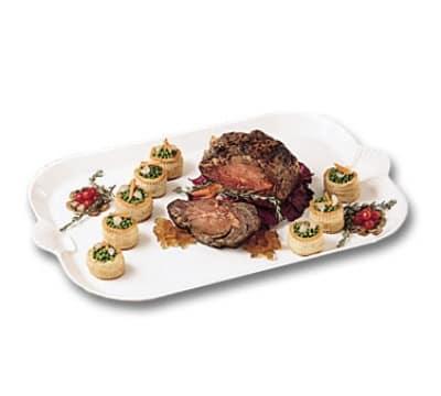 "Bon Chef 2069BLS WH 32"" Shell Handle Brass Leg Platter, Aluminum/White"
