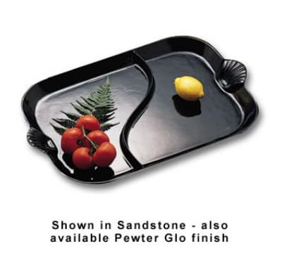 "Bon Chef 2096DS BLK 26"" Divided Platter w/ Shell Handle, Aluminum/Black"