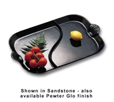 "Bon Chef 2096DS WH 26"" Divided Platter w/ Shell Handle, Aluminum/White"