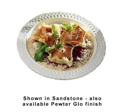 """Bon Chef 2300S WH 16"""" Round Platter, Aluminum w/ White"""