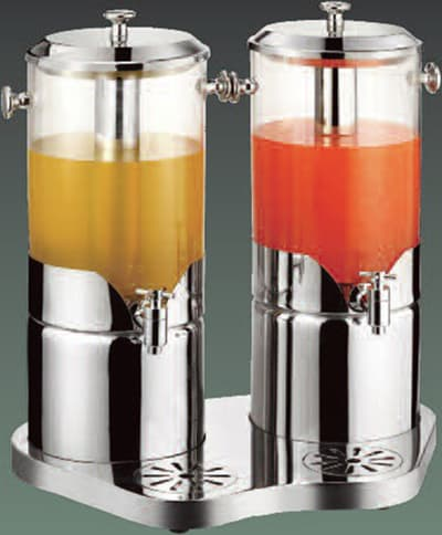 Bon Chef 40506 4-Gal Double Juice Dispenser w/ Stainless Ice Chamber & Base