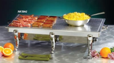 """Bon Chef 50132AG 34.25"""" Double Griddle Top Only, Swirl Design w/ Collector Channel"""