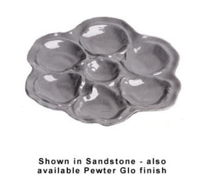 "Bon Chef 5079S BLK 10"" Oyster Plate, 6-Hole, Aluminum/Black"