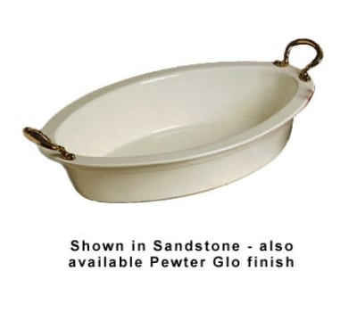 Bon Chef 5099HRP 7-qt Oval Casserole Dish, Round Brass Handle, Aluminum/Pewter-Glo
