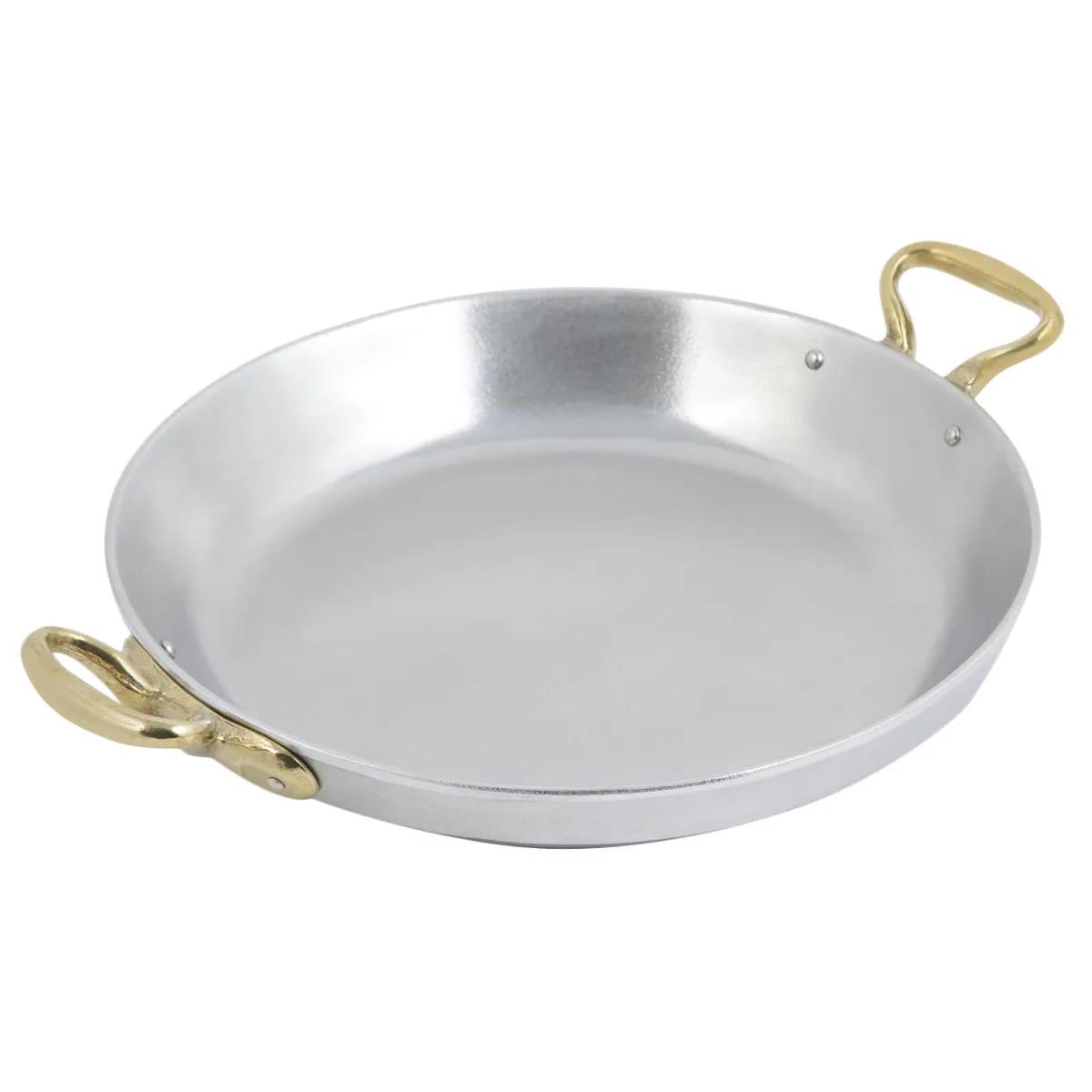 "Bon Chef 5100P 12"" Aluminum Paella Pan w/ 2 qt 20 oz Capacity, Pewter"