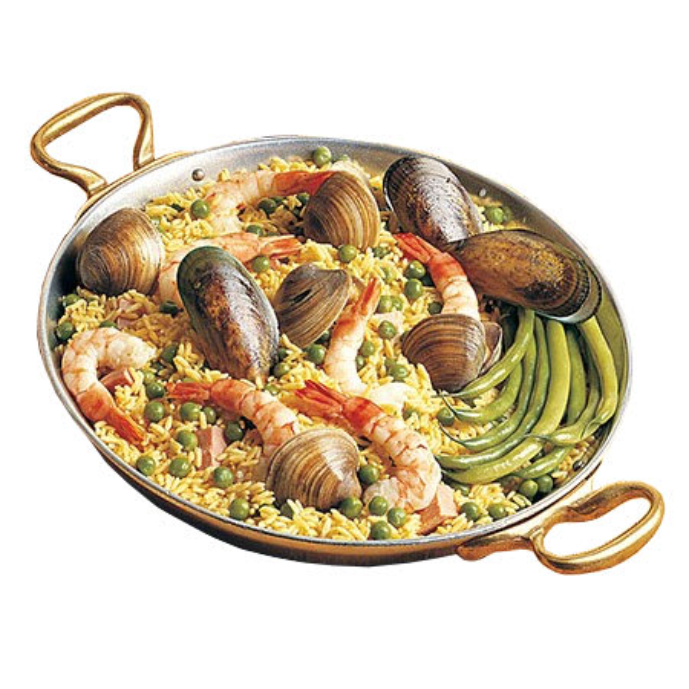"Bon Chef 5100S 12"" Aluminum Paella Pan w/ 2.625 qt Capacity, Fiesta Gold"
