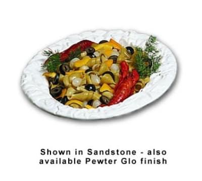 Bon Chef 5500S WH 3-qt Oval Pasta Bowl, Aluminum/White