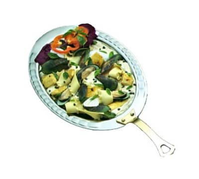 "Bon Chef 5699HR 6.1-qt Oval Food Pan, Round Handle, 3.5"" Deep, Arches, Heavy Gauge"