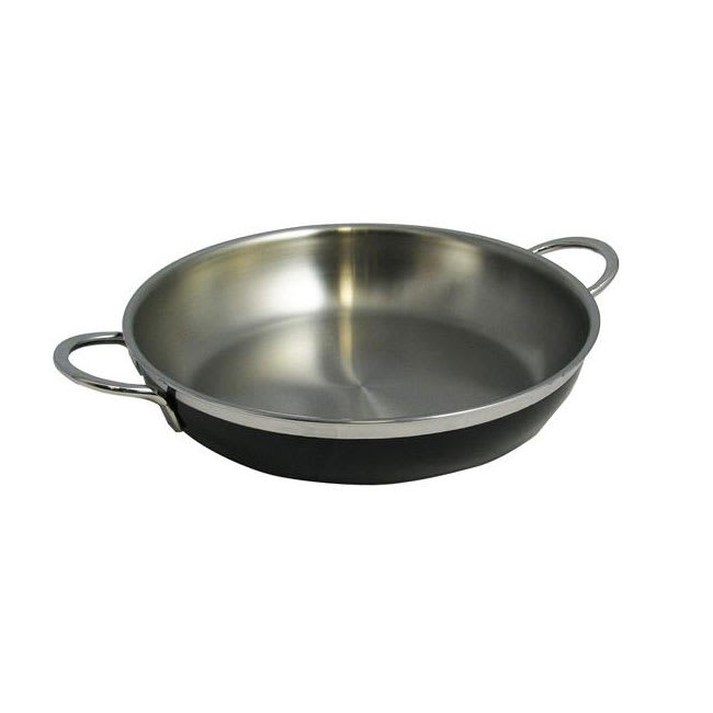 Bon Chef 60306 BLK 3.13-qt Enameled Tri-Ply Saute Pan/Skillet w/ Lid, Black
