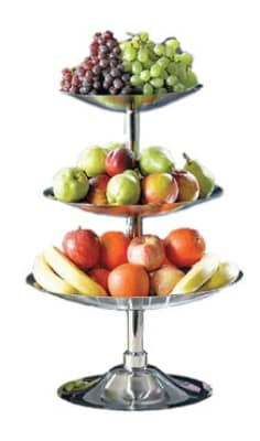 Bon Chef 61101 3-Tier Fruit Bread Display Stand, Stainless