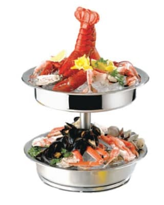 """Bon Chef 61281 17"""" Diameter Seafood Tower, Stainless Steel"""