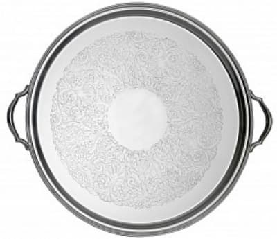 "Bon Chef 61337 20"" Round Tray w/ Bead Border, Stainless"