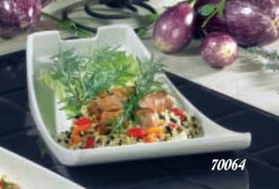 """Bon Chef 70064S WH Platter, 12 x 8 x 4.5"""", Aluminum/White"""