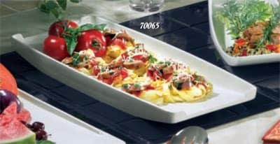 """Bon Chef 70065S WH Serving Platter, 20 x 9 x 2.5"""", Aluminum/White"""