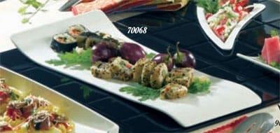 """Bon Chef 70068S WH Free-Form Platter, 20 x 9 x 1.5"""", Aluminum/White"""
