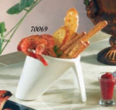 """Bon Chef 70069S WH 5"""" Tripod Serving Bowl, Aluminum/White"""