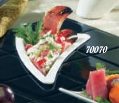 """Bon Chef 70070S WH 11"""" Triangle Platter, Aluminum/White"""