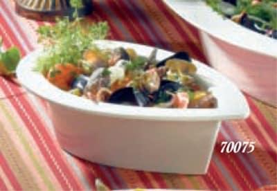 """Bon Chef 70075S WH 12.5"""" Tear Drop Platter, 3.5"""" Deep, Aluminum/White"""